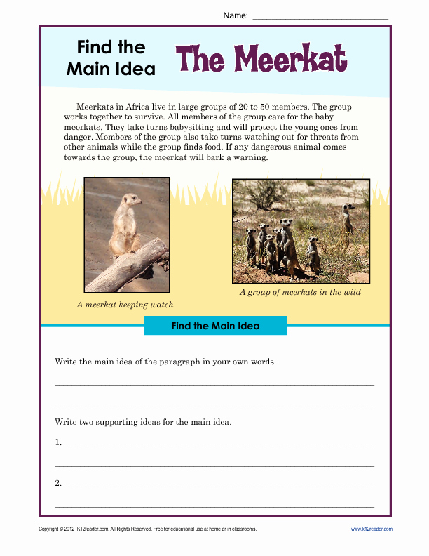 Main Idea Worksheets Third Grade 29 Prehensive Main Idea Worksheets