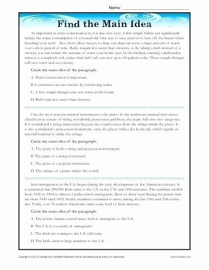 Main Idea Worksheets Third Grade Grade Main Idea Worksheet About the Worksheets 3 Multiple