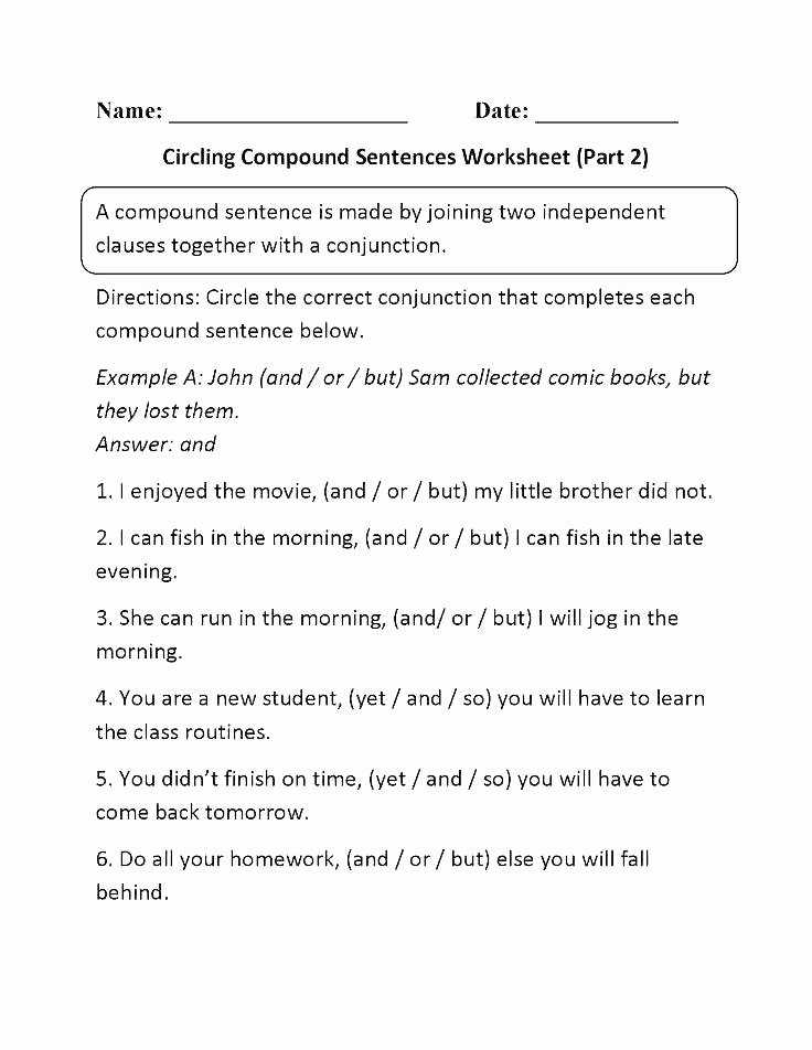 Making Compound Sentences Worksheets Grade Sentences Worksheets Bining Best Writing