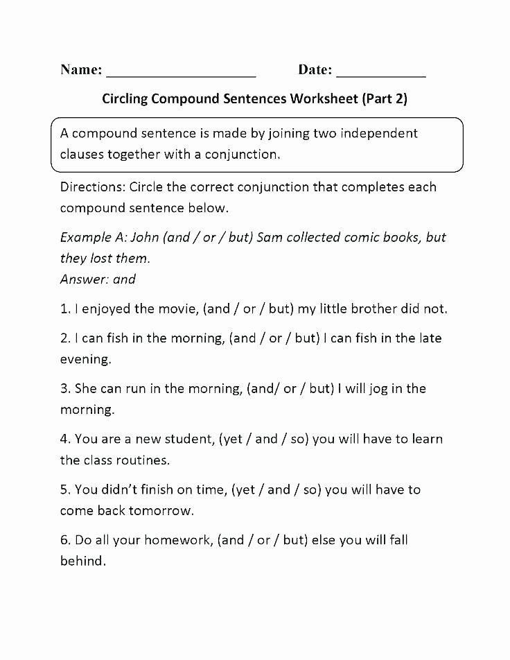 Making Compound Sentences Worksheets Grade Sentences Worksheets Bining Best Writing