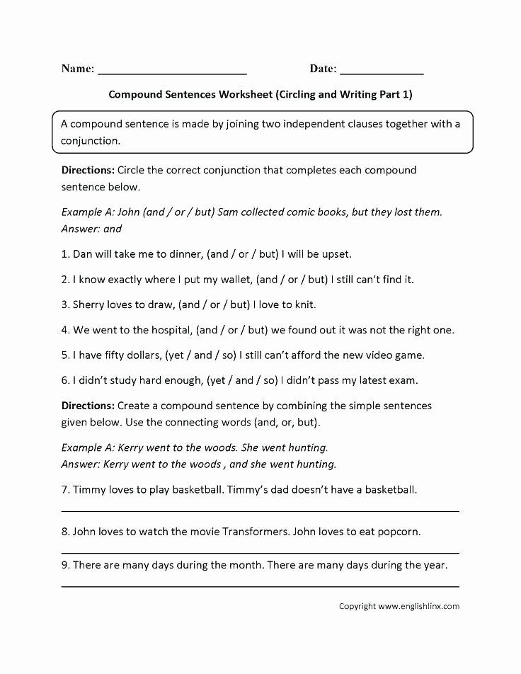 Making Compound Sentences Worksheets Simple Pound Plex Sentences Quiz Sentence