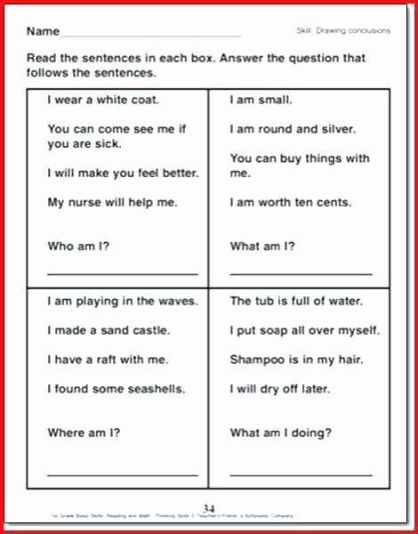 Making Inference Worksheets 4th Grade Drawing Conclusions Worksheets 4th Grade
