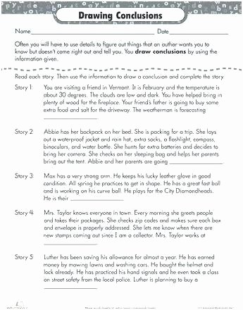Making Inferences Worksheets 4th Grade Drawing Conclusions Worksheets 4th Grade