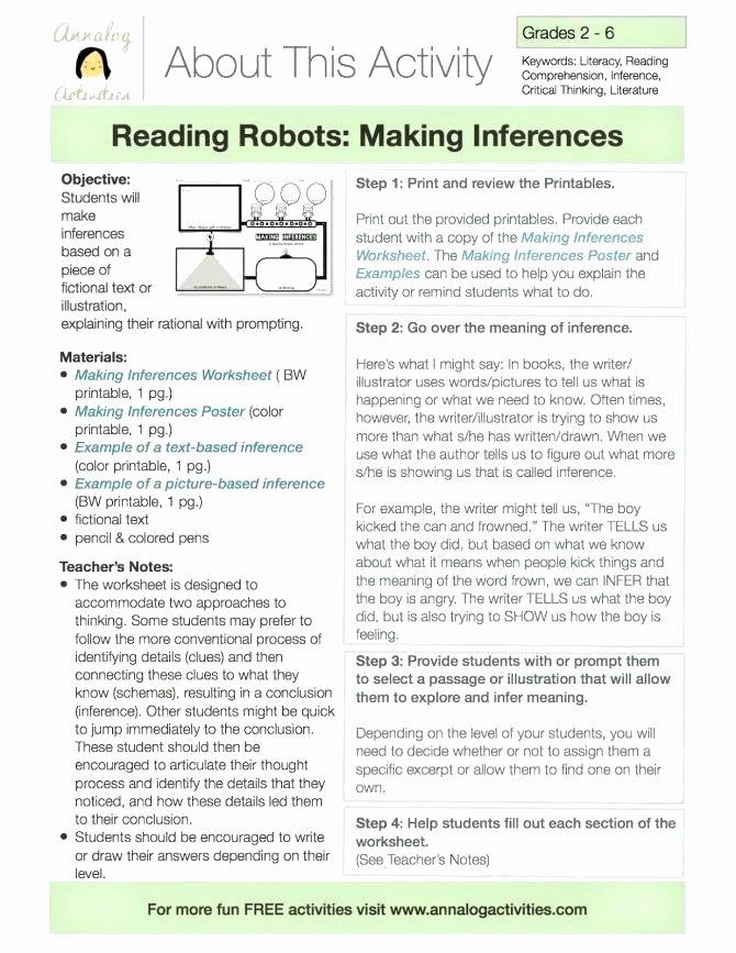 Making Inferences Worksheets 4th Grade Making Inferences Worksheets Students Read Six Passages and