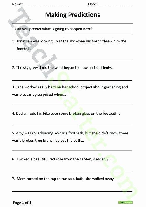 Making Predictions Worksheet 2nd Grade Making Predictions Worksheets 3rd Grade Upgrade Making