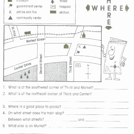 Map Reading Practice Worksheets Beautiful 1st Grade Map Skills Worksheets