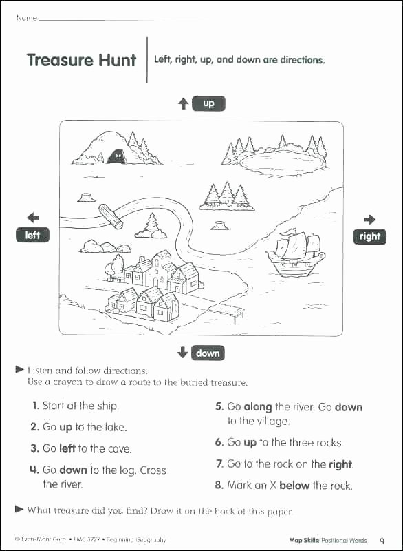 Map Skill Worksheets social Skills Worksheets Listening Kindergarten Worksheet