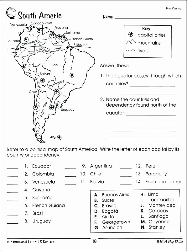 Map Skills Worksheet 2nd Grade Awesome Free Map Worksheets for 3rd Grade