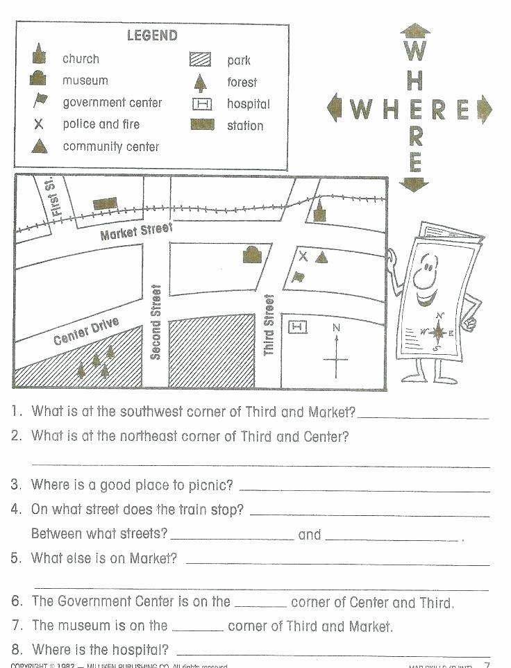 Map Skills Worksheet 4th Grade Map Skills Worksheets 3rd Grade