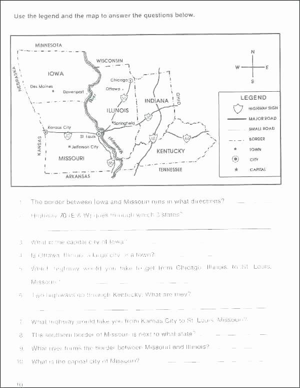 Map Skills Worksheets Answers Map Reading Worksheets Grade 6