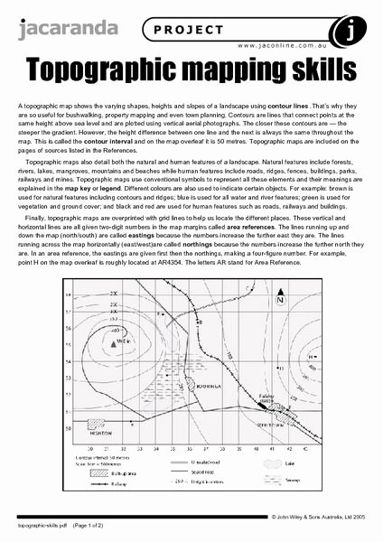 Map Worksheet 2nd Grade Map Skills Worksheets Elegant topographic Map Worksheet 14