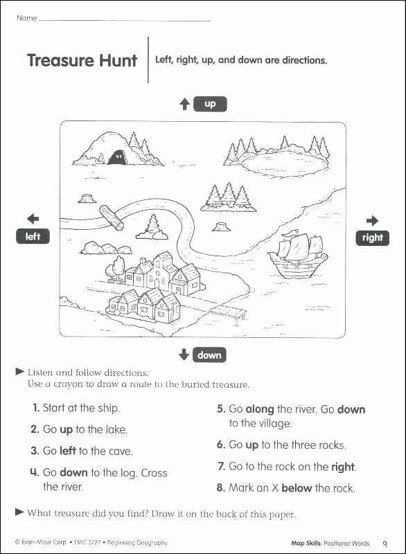 Map Worksheet 2nd Grade Positional Words Worksheets 2nd Grade