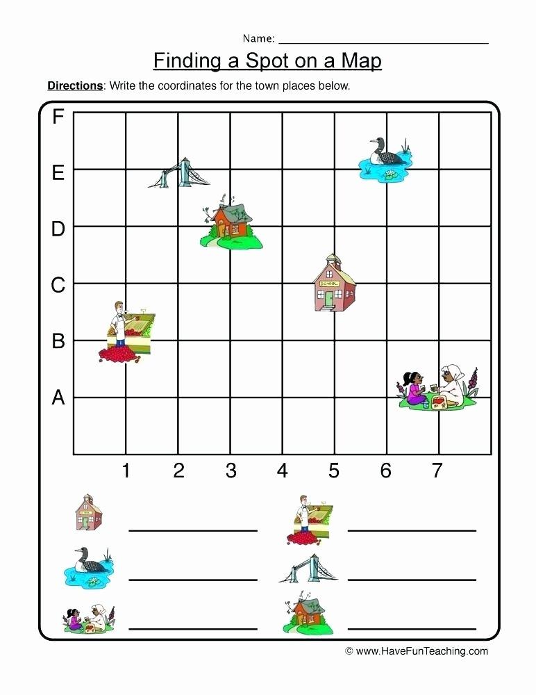 Map Worksheets 2nd Grade Free Math Grid Worksheets Activity Shelter Coordinate