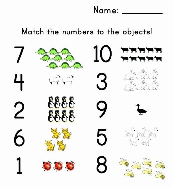 preschool number matching worksheet letter worksheets objects