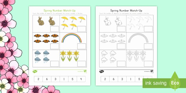 Matching Numbers Worksheets Spring Number Match Up Worksheet Worksheet Spring First