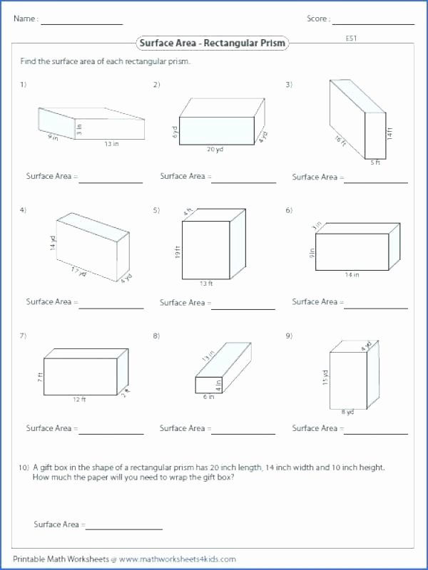 Math Aids Compound Shapes Fresh Surface area Worksheets 8th Grade