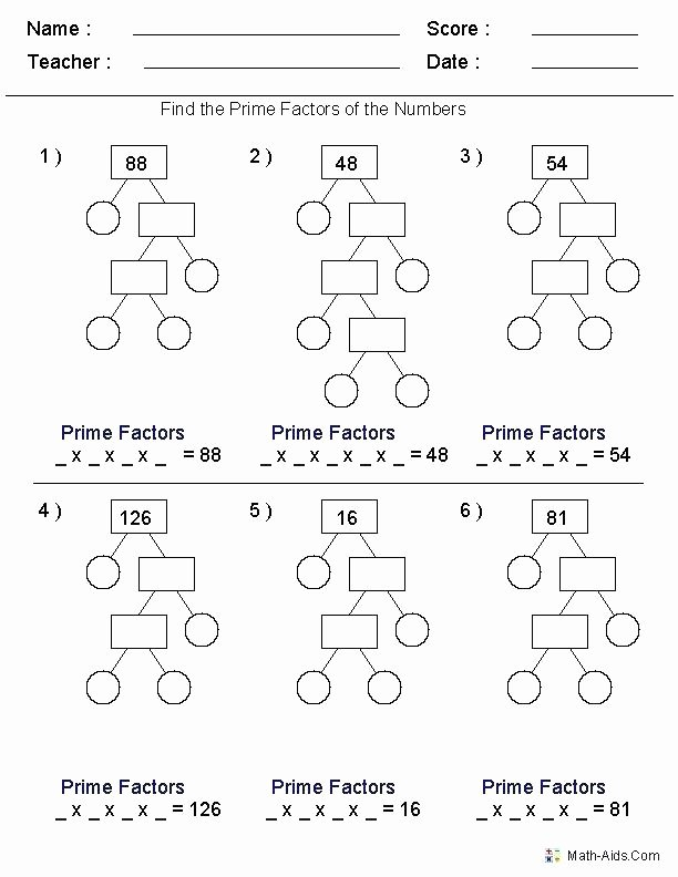 Math Aids Factors Worksheets Multiples Worksheets Grade 4 – Openlayers