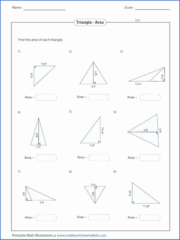 Math Aids Reflections area A Triangle Worksheet Best Image Below