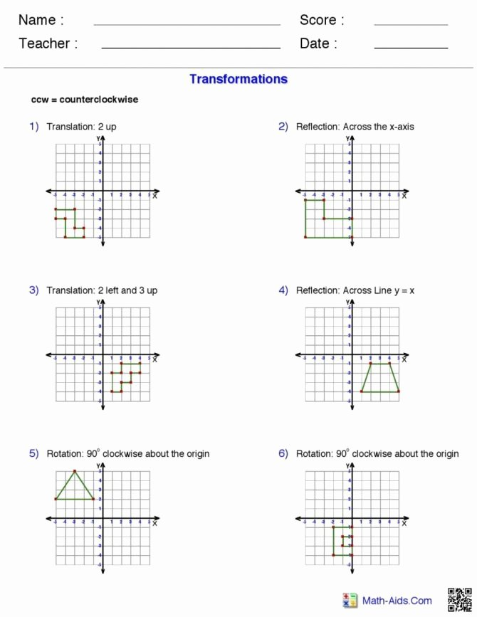 Math Aids Reflections Transformation Geometry Worksheets 2nd Grade Pdf Match the