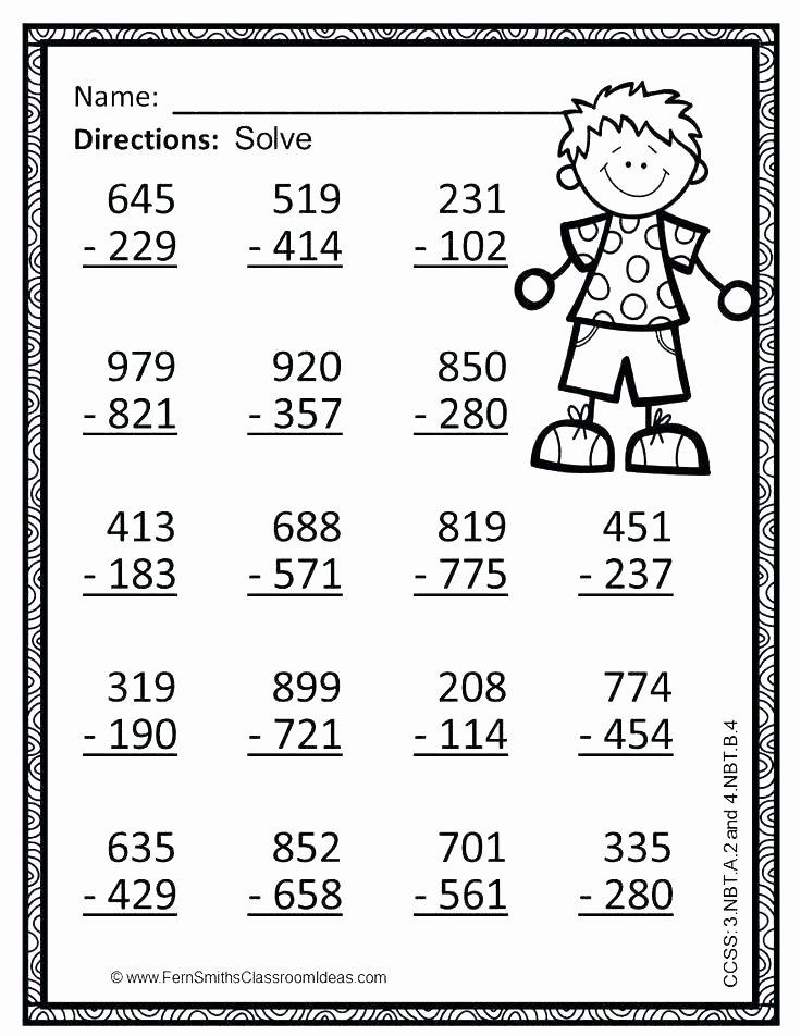 Math Coloring Worksheets 3rd Grade New 3rd Grade Subtraction Worksheets Coloring Pages Math Adding