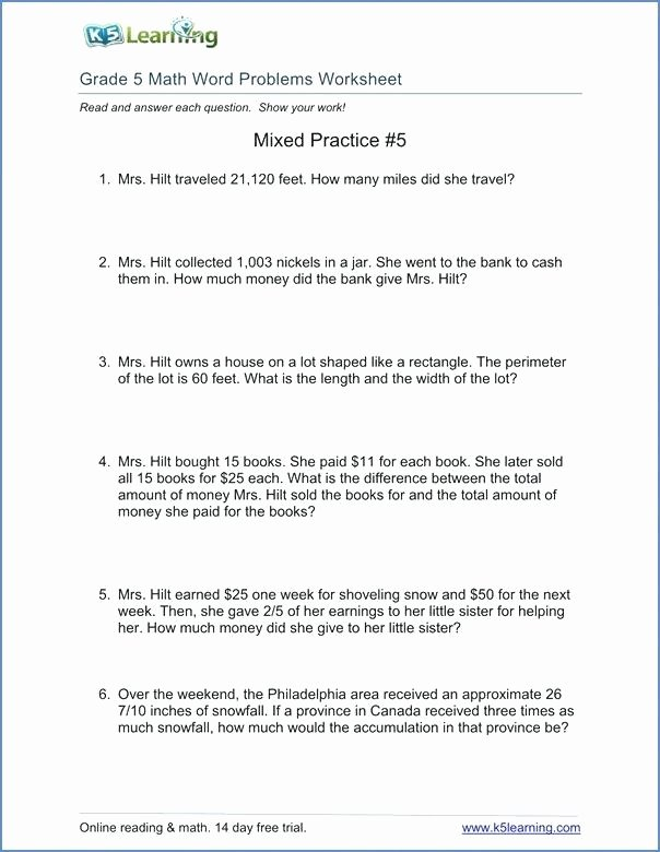 Math Conversion Worksheets 5th Grade Measurement Conversion Word Problems Worksheets