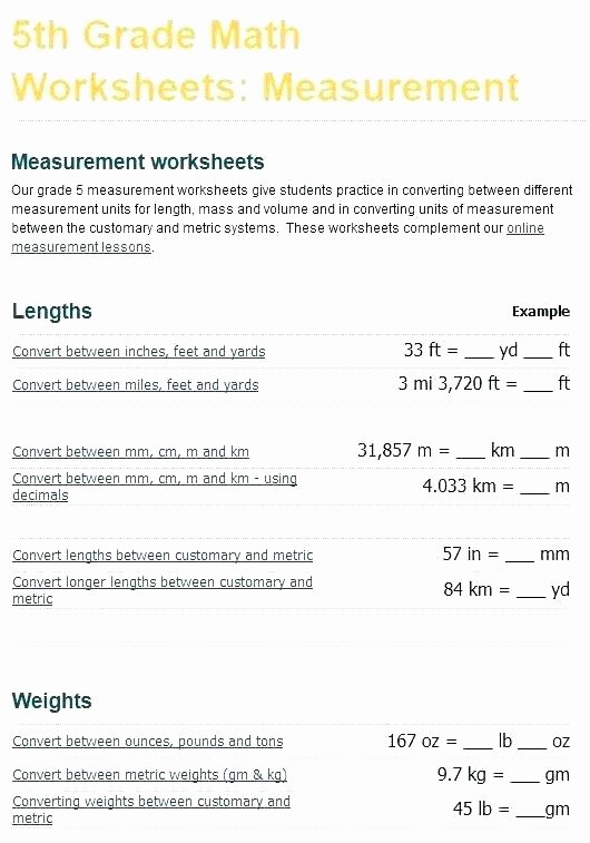 Math Conversion Worksheets 5th Grade Measurements Worksheets for Grade 2 – Openlayers