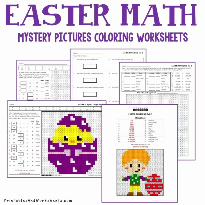 Math Mystery Picture Worksheets Easter Math Coloring Worksheets Bundle Printables Halloween