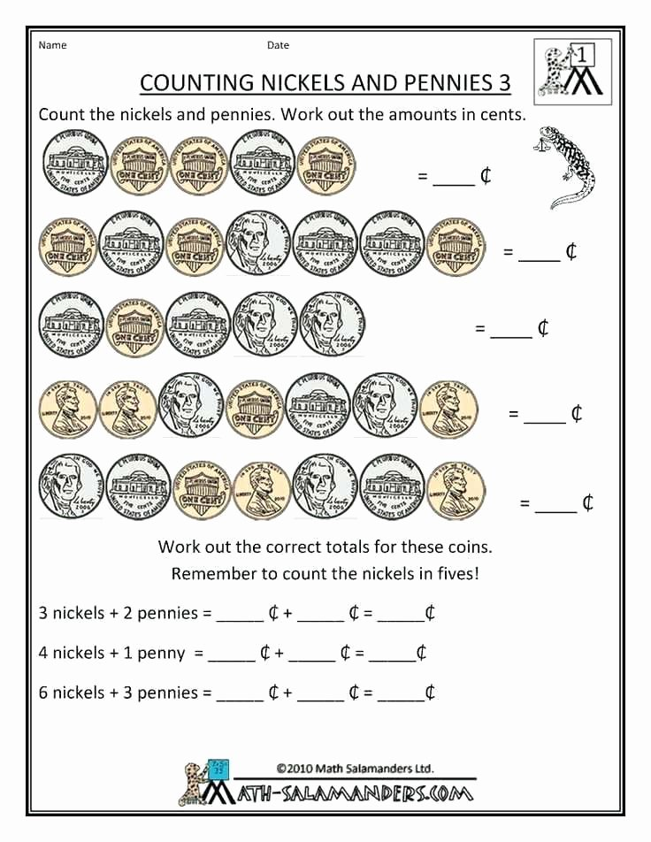 Math Salamanders Grade Printable Worksheets Fun Money for 2nd Graders