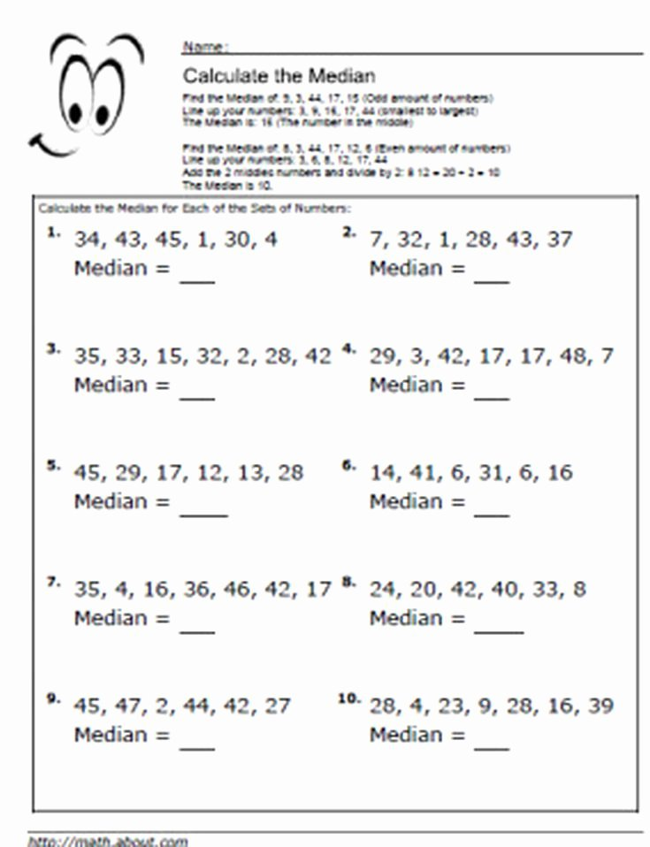 Mean Median Mode Worksheets Pdf Median Worksheets for Math Students
