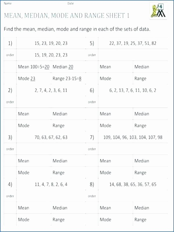 Mean Mode Median Worksheets Median Worksheets Mean Mode Pdf Range