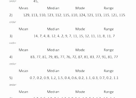 Mean Mode Median Worksheets Mode Worksheets