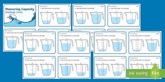 Measurement Capacity Worksheets Ks1 Measure Capacity Differentiated Challenge Cards Ks1