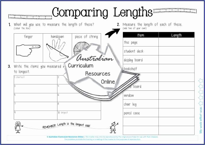 Measurement Capacity Worksheets Paring Lengths My Classroom