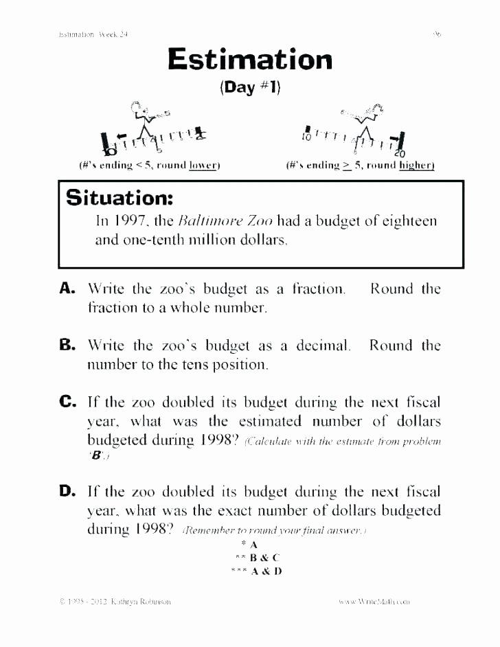 Measurement Estimation Worksheets Free Estimation Worksheets Estimating Products for 1st Grade