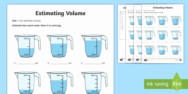 Measurement Estimation Worksheets Year 2 Estimate Capacity Differentiated Worksheet