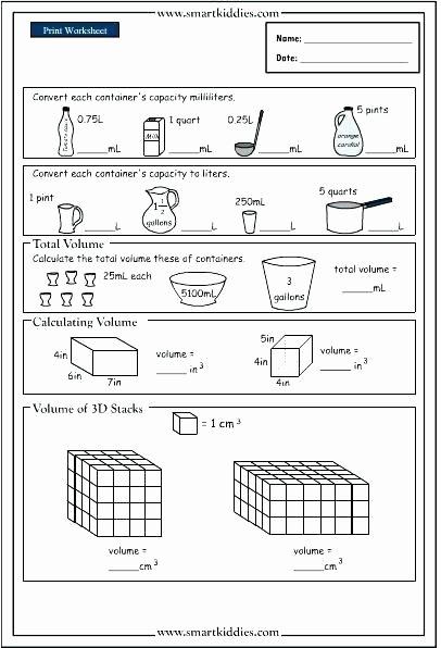 Measurement Volume Worksheets Grade Volume Worksheets Math Kindergarten Core Maths V