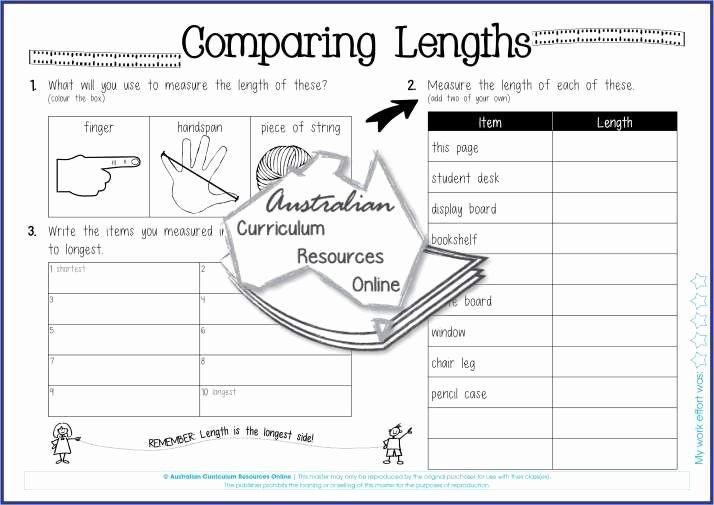 Measurement Volume Worksheets Paring Lengths My Classroom