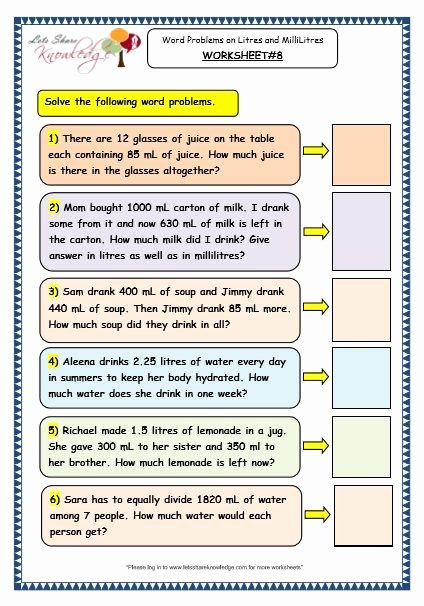 Measurement Worksheets 3rd Grade Measurement Of Capacity Word Problems On Litres and