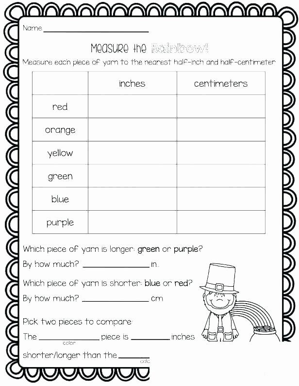 Measurement Worksheets for 2nd Grade Measuring Inches and Centimeters Worksheets