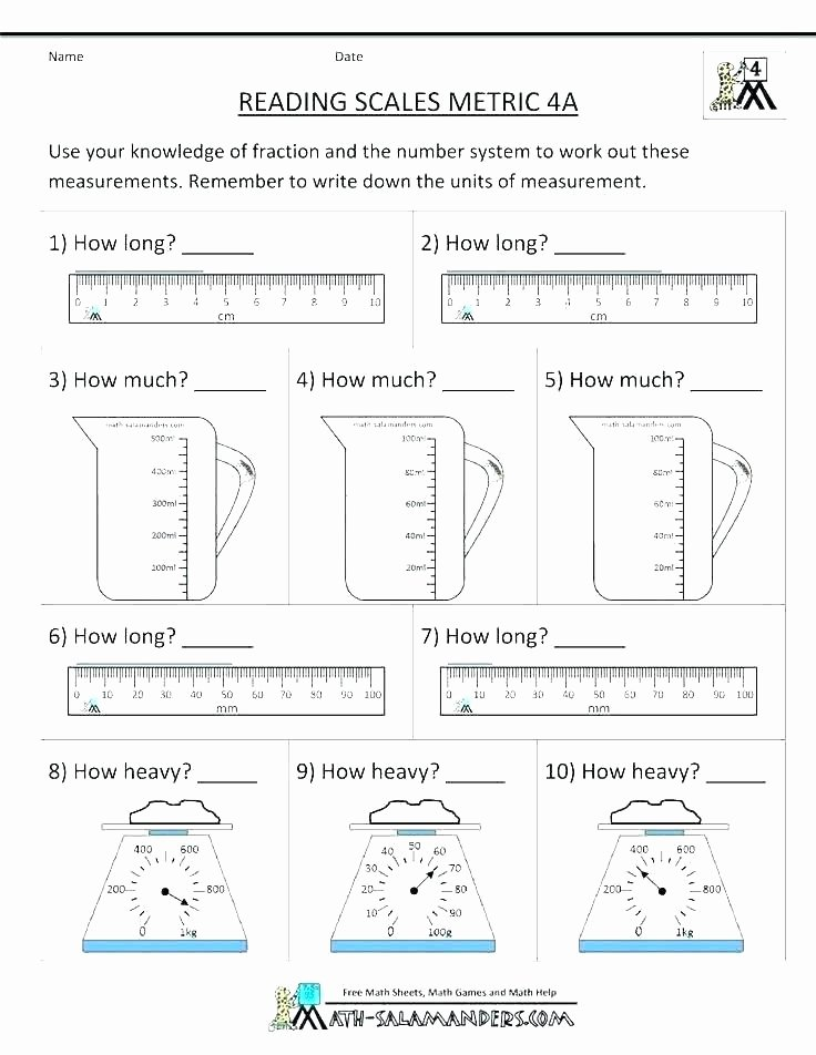 Measuring Inches Worksheet Math Measurement Worksheets O Kitchen Math and Measuring