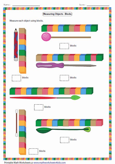 Measuring Inches Worksheet Measurement Worksheets for Kindergarten Free Measuring