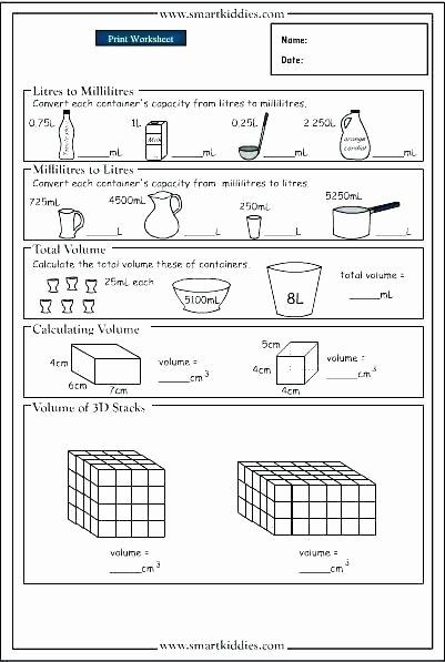 Measuring Liquid Volume Worksheets Luxury 4th Grade Math Volume Worksheets