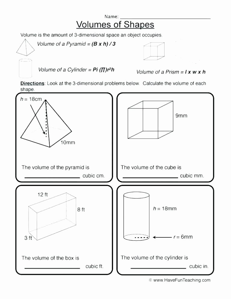 Measuring Volume Worksheets 8th Grade Geometry Worksheets