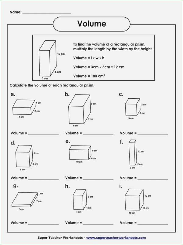 Measuring Volume Worksheets Volume Worksheet