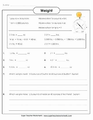 Measuring Weight Worksheets Grade Measurement Worksheets Printable Math Free and for