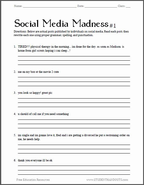 Media Literacy Worksheets social Media Madness Grammar Worksheet 1