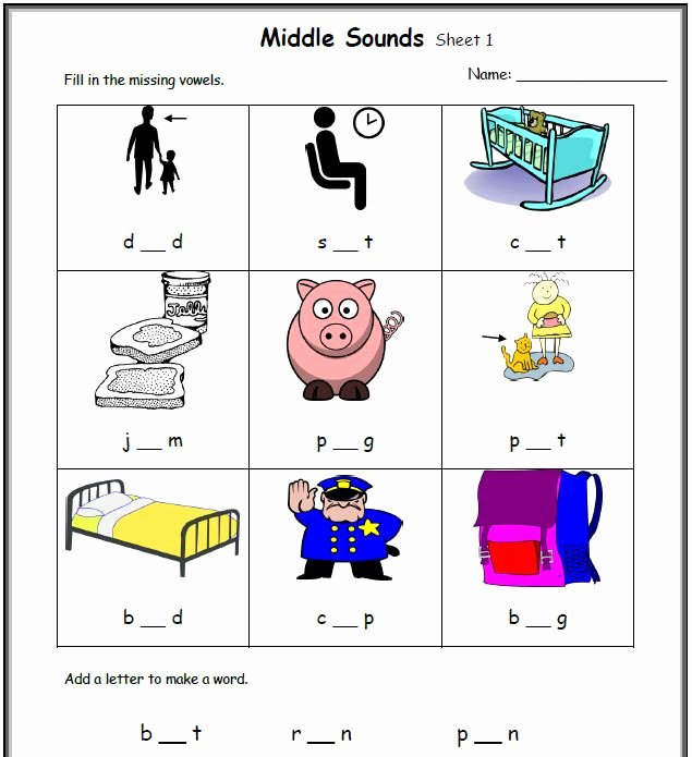 Medial sounds Worksheets First Grade Cvc Worksheets Printable Work Sheets • Keepkidsreading