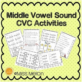 Medial sounds Worksheets First Grade Middle Vowel sound Cvc Activities