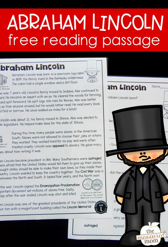 Memorial Day Reading Comprehension Free Reading Passage Abraham Lincoln for Kids the