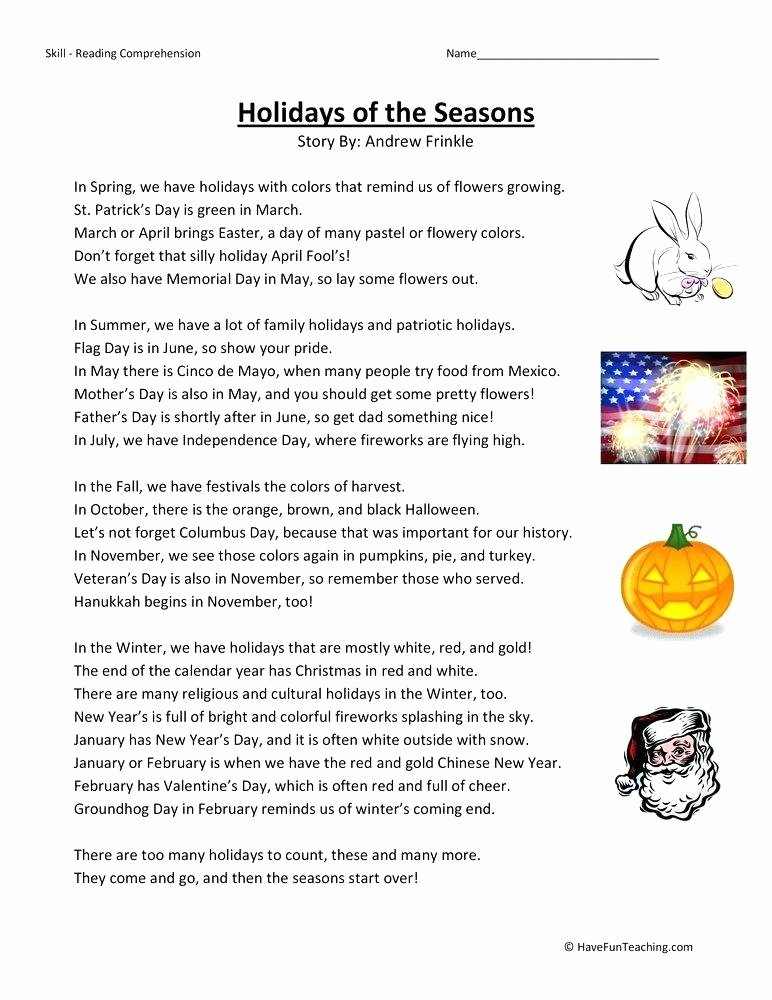 Memorial Day Reading Comprehension Grade 3 social Dies Worksheets S An Autumn Holiday Worksheet